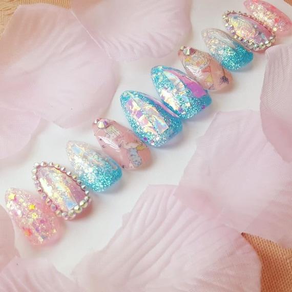 Cotton Candy Merry-go-round Nail Set reusable nails kawaii