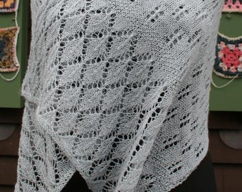 Wheatsheaf Shawl knitting pattern with Dorset buttons