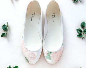 Dusky Pink Peony Bud handpainted custom ballerina flat wedding shoes