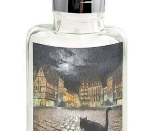 Night Cat Prowling - Clear Glass Soap Dispenser From DoggyLips.Com