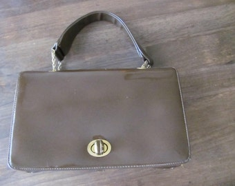 Vintage 1960's Mod Style BLOCK COMPANY Brown Vinyl Handbag With Gold Tone Hardware