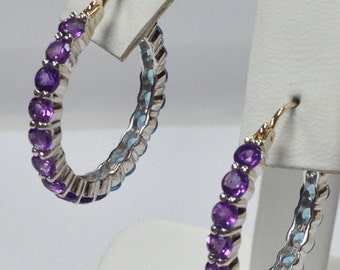 Natural Amethyst and Natural Blue Topaz Hoop Earrings 925 Sterling Silver with Solid 10kt Yellow Gold