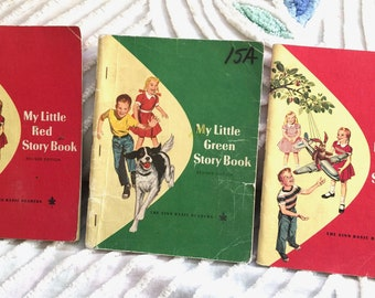 Vintage My Little Red Story Book Green Story Book for Children Educational Learning text