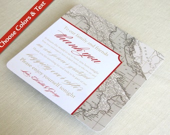 Italy Map Wedding Reception Thank You Card - Tuscany Vintage Destination Travel - Custom Colors - Custom Wording