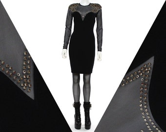Vtg 90s Black Mesh Cut Out Studded Bandage Bodycon Grunge Mini Dress M
