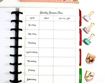 Printed Classic Happy Planner Weekly Dinner Planner Inserts, Classic Happy Planner Meal Planner, Pre-punched Planner Inserts, Grocery List