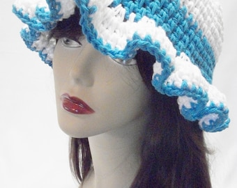 Crochet Cotton Summer Sun Hat, Crochet Sun Hat, Blue and White Cotton Floppy Sun Hat, Summer Hat in Blue and White