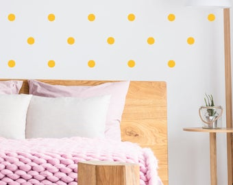 Wallpaper dots. 72 Yellow Dots Stickers. Under 25 Gift Ideas. Polka Dot wall stickers. Bedroom Wall Decor. Polka Dot decal. Pois adesivi
