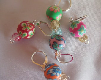 5 Stitch Markers Stitch Marker selfmade Colorful Fimoperlen