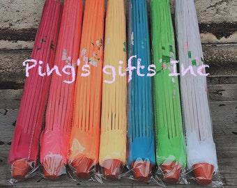 Silk Parasol Umbrella Chinese Japanese Bamboo Flower Pattern Fabric