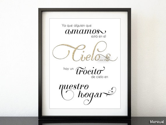Spanish Quote Print Because Someone We Love Is In-7093