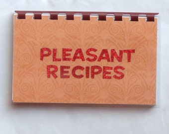 Handmade Orange 'Pleasant Recipes' Blank Recipe book for Your Personal Recipes