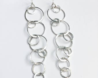 Silver Circles Earrings - Statement Earrings - Extra Long Earrings - Sterling Silver Long Dangle Earrings - Statement Jewelry