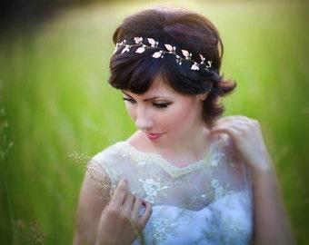 Rose gold bridal hair piece Wedding headband Rose gold bridal headpiece Leaf crown headband Rose gold tiara Bridal tiara Wedding tiara