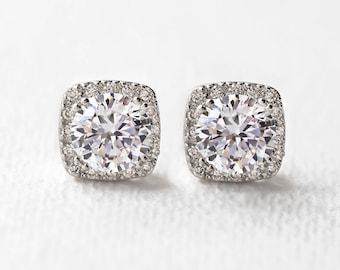 Bridal Stud Earrings Cushion Cut Earrings Wedding Jewelry Bridal Accessories Bridesmaid Gift Bridesmaid Jewelry Silver Earrings E313-S