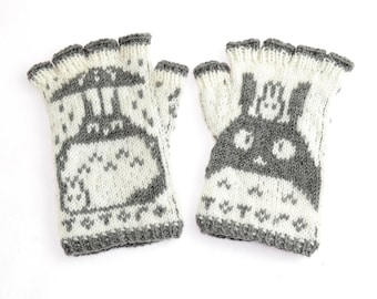SALE Totoro Fingerless Gloves - hand-knit from pure merino wool. Totoro Gloves Arm Warmers Merino Fingerless Gloves
