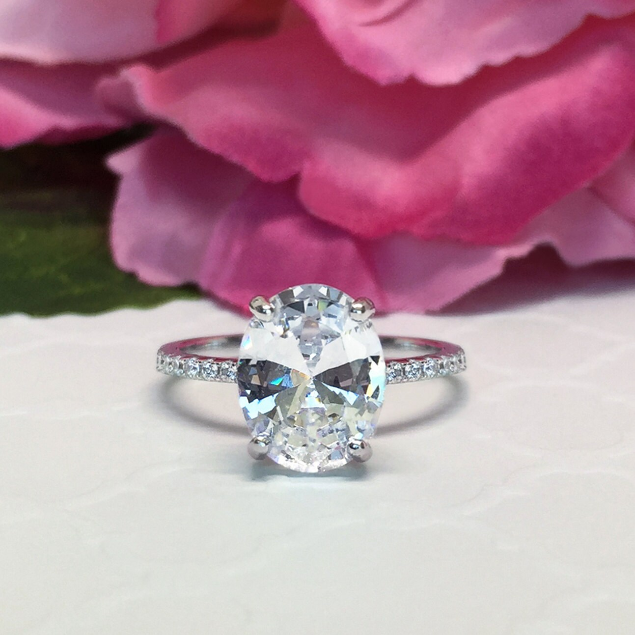 3.25 ctw Oval Accented Solitaire Ring Blake Engagement Ring