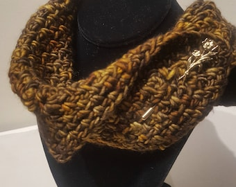 Free Shipping Winter Scarf, soft wool gold charcoal gray
