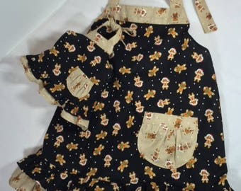 Matching GIRL and DOLL APRONS in Gingerbread Cookies Print