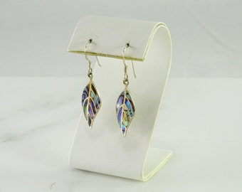 Inlaid Sterling Silver Pierced Dangle Earrings