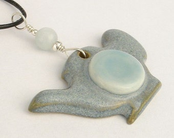 Powder blue teapot shaped pendant (JPB-T004-1)