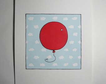 Red Balloon Illustration, Original Acrylic Painting, Le Ballon Rouge, Nursery Art, Cute Painting, Mini Painting, Small Painting, 6x6, Clouds