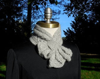 Gray Scarflette with Leafy Frill soft warm neckwarmer pass through scarf feminine ruffled keyhole scarf hand knitted