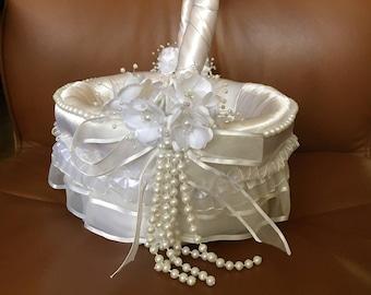 Flower Basket and Ring Pillow wedding Set