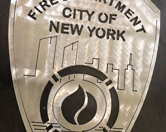 FDNY Badge Aluminum Wall Sign New York City Fire Department Plaque