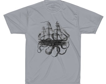 Octopus Attacking Ship on gray sport shirt