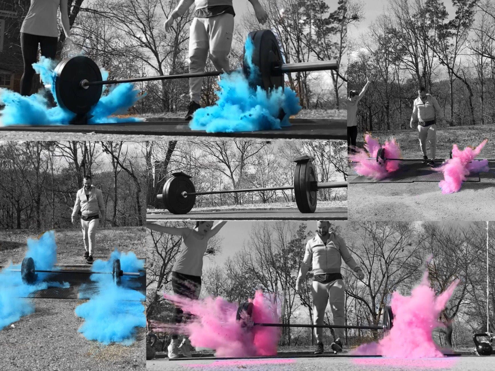 Color Powder Gender Reveal >> GYM and FITNESS Gender Reveal! Simple Barbell Pack & Medicine Ball Pack for Weight Lifting ...