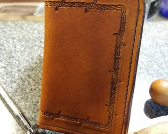 Handmade leather minimalist card wallet.