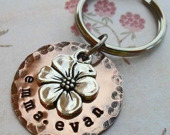 Flower Blossom Keychain- Personalized Apple Blossom  Keychain - Custom Names- K65