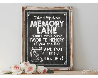 Personalized MEMORY LANE Printable Digital Chalkboard Leave your favorite memory Sign Size Options