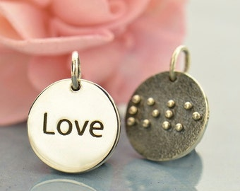 Braille Love Charm - sterling silver disc charm -