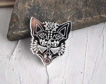Fox tattoo pin acrylic brooch - mirror fox shaman brooch, silver shaman fox brooch, mirror fox brooch, fox tattoo pin brooch - made to order