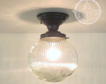 Holophane Globe CEILING LIGHT with Semi Flush Mount - Modern Lighting Fixture Chandelier Lamp Kitchen Glass Pendant Large LampGoods