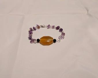 Gemstones, bracelet, orange, purple