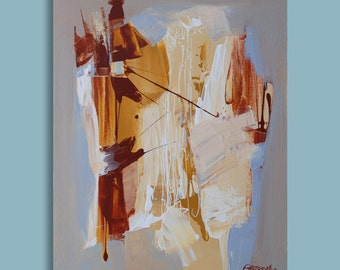 Abstract Painting Orange Blue and Grey Yellow