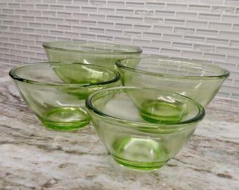 1940s Hocking Glass Co. Uranium glass mixing bowls, vaseline glass mixing bowls, Hocking Glass co