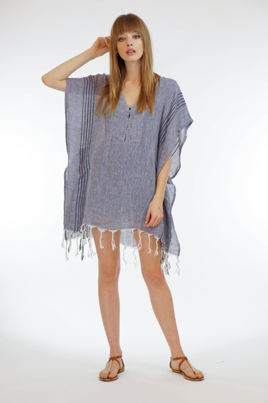 Indigo Leinen Tunika Boho Kimono Boho Kleid Strand Cover Up