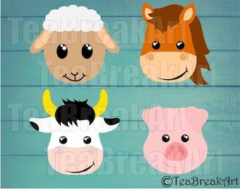 Farm Animal Faces Monogram Digital Cutting Files SVG PNG jpg dxf animal t-shirt kid cow sheep pig horse iron on heat transfer decal 804C