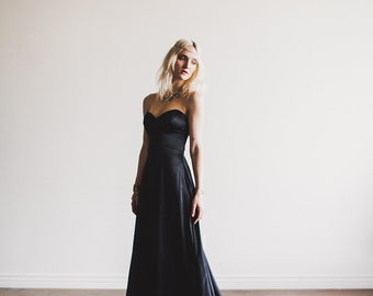 Black wedding dress etsy black floor length sweetheart strapless wedding gown alternative bride gala gown by cleo and clementine junglespirit Image collections