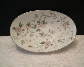 Noritake Chatham Oval Serving Bowl, Vintage Mid Century Made in Japan vegetable dish, pink and white flowers, discontinued pattern