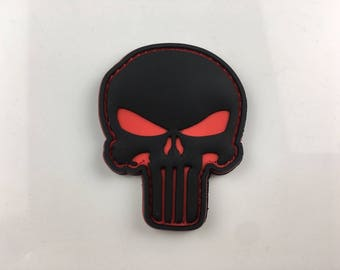 Punisher Skull Red and Black 3D PVC Morale Patch