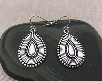Silver Bohemian Drop Earrings - Silver Boho Chic Earrings - Simple Everyday Silver Earrings