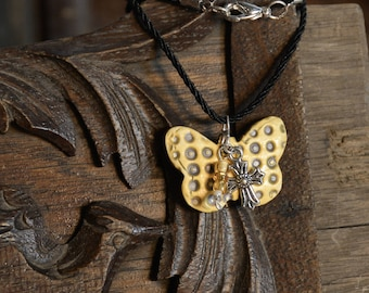 Yellow Butterfly Pendant Necklace - Handmade Ceramic