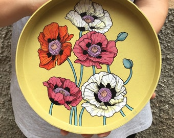 Papier-mâché tray poppies