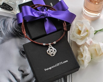 Celtic Love Knot Brown Braided Leather Choker Necklace - Sterling Silver - C358