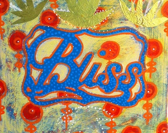 8x8 original, Kiss my BLISS, bright color, original art work on wood panel, cut paper, acrylic with by Katherine Baronet